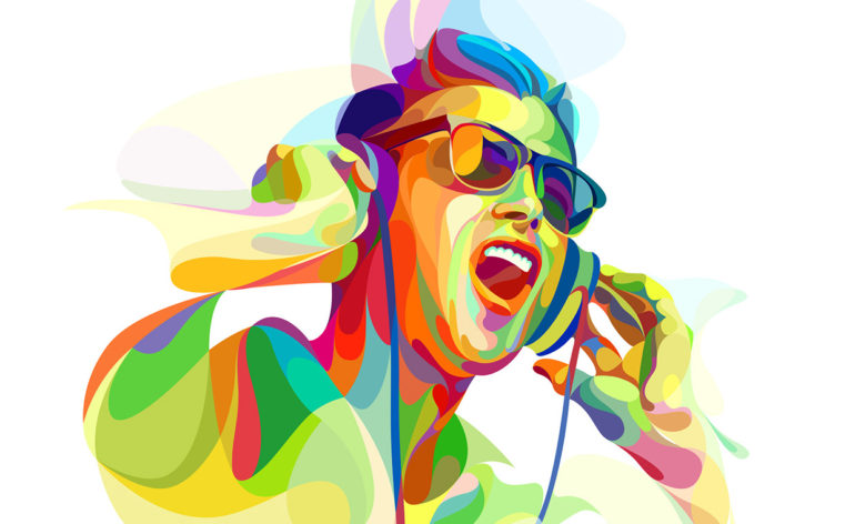 Neofuturistic illustration of a Deejay.